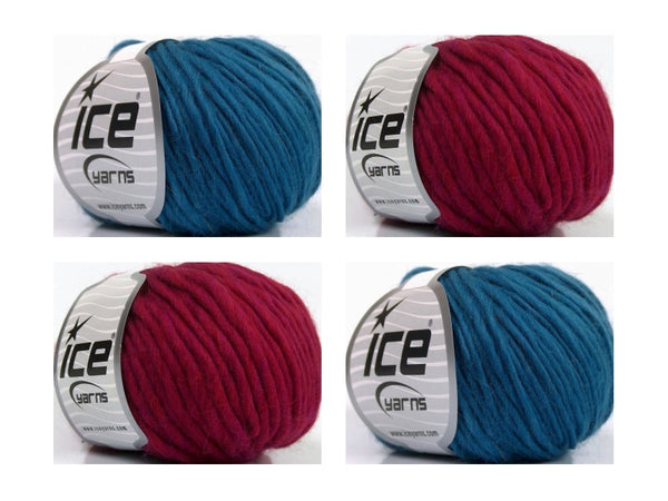 Naturalpaket 100% Wolle Pure Wool Chunky Teal Burgundy Ice Yarns 250g