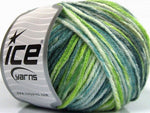 50g Sale Self-Striping White Turquoise Green Shades Ice Yarns Strickwolle Ice Yarns - Hungariana Garn und Strickwolle Online Shop