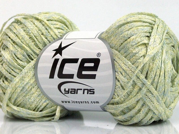 Viscose Ribbon Shine Mint Green Gold Ice Yarns