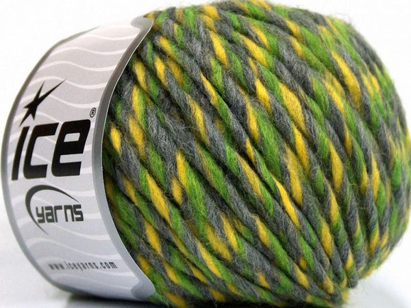 Wool Cord Superbulky Yellow Grey Green Ice Yarns