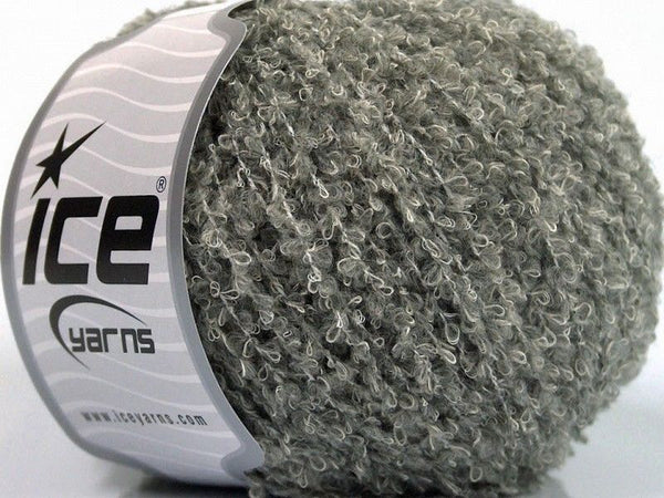 Wool Cotton Boucle Grey Ice Yarns
