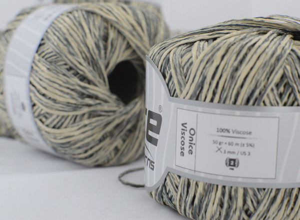 50g Onice Viscose Grey Cream Ice Yarns Strickwolle Ice Yarns - Hungariana Garn und Strickwolle Online Shop