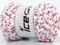 100g Chenille Worsted White Pink Lilac Ice Yarns Strickwolle Ice Yarns - Hungariana Garn und Strickwolle Online Shop