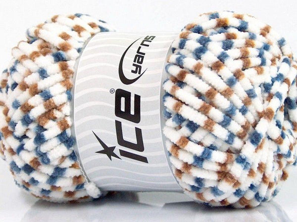 100g Chenille Worsted White Teal Brown Ice yarns Strickwolle Ice Yarns - Hungariana Garn und Strickwolle Online Shop
