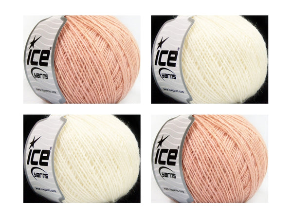 Wollpaket  Wool Cord Sport Rosa Cream Ice Yarns 200g