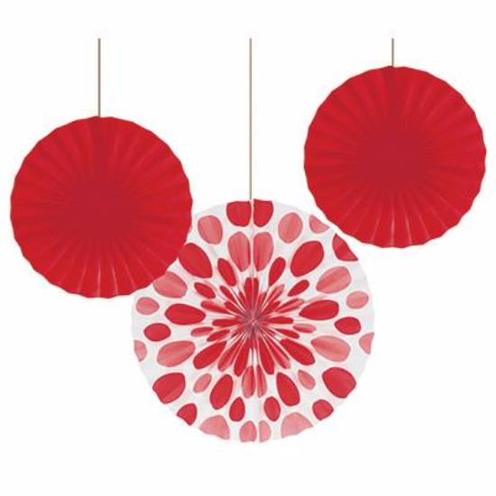 Ruby Red Polka Dot Fan Decor