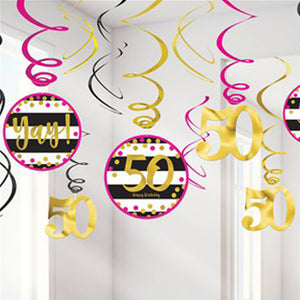 Pink & Gold milestone 50 Value Pack Swirl
