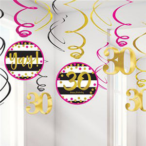 Pink & Gold milestone 30 Value Pack Swirl