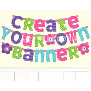Customizable Letter banner Purple & Teal