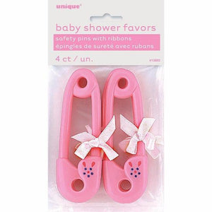 Pink Ribbon Baby Pin Favour 4/pk