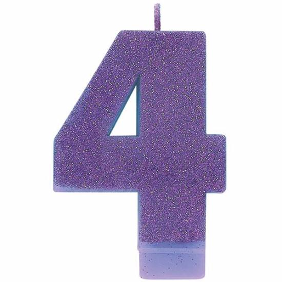 Candle Numeral Glitter #4 Purple