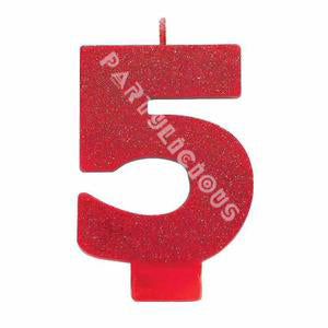 Candle Numeral Glitter # 5 Red