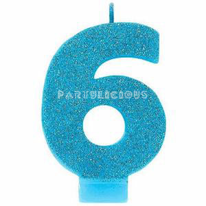 Candle Numeral Glitter # 6 Blue