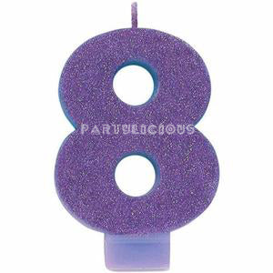 Candle Numeral Glitter # 8 Purple