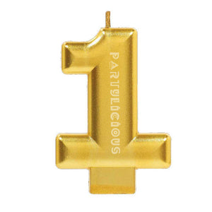 Candle Metallic Numeral #1 Gold