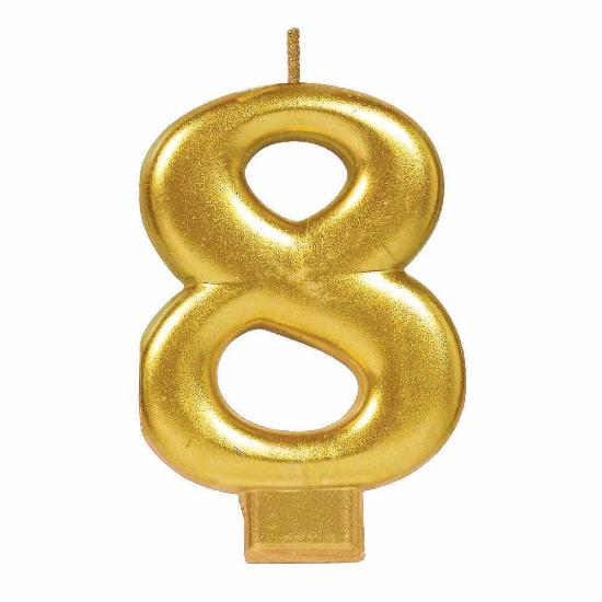 Candle Numeral Metallic #8 Gold
