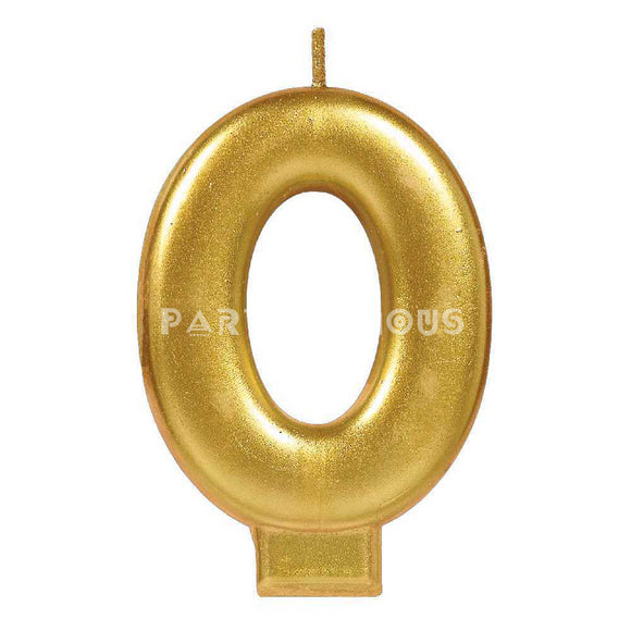 Candle Metallic Numeral #0 Gold