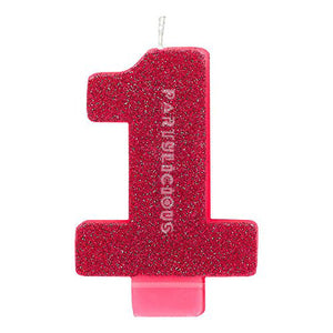 Candle Numeral Glitter # 1 Pink