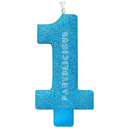 Candle Numeral Glitter # 1 Blue