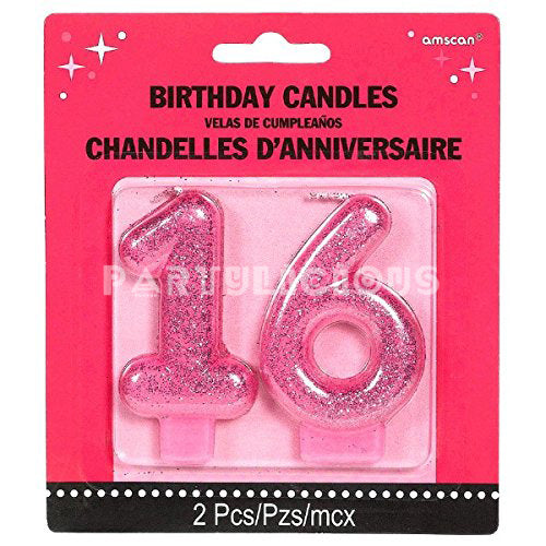 Candle Numeral Glitter # 16
