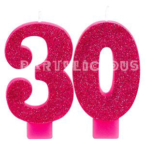 Candle Numeral Glitter # 30