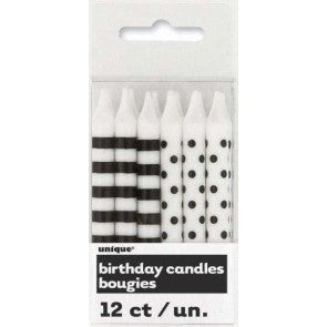 Black Stripes Dot Candles