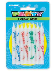 Printed Birthday Candles 8 Pk