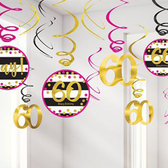 Pink & Gold milestone 60 Value Pack Swirl