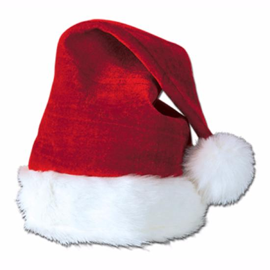 Velvet Santa Hat w/Plush Trim