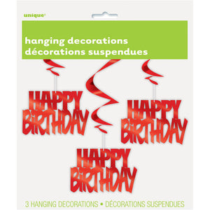 "Red Foil ""happy Birthday"" Hanging Decoration 3/pk"