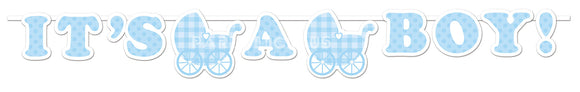 IT'S A BOY GINGHAM RIBBON BANNER