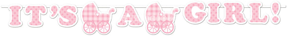 IT'S A GIRL GINGHAM RIBBON BANNER