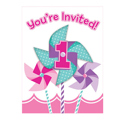 Turning One Girl Invitations