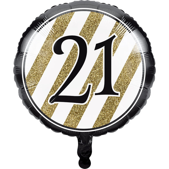 "Black & Gold ""21"" Foil Balloon"