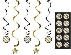 BLACK & GOLD DIZZY DANGLERS 5/PK