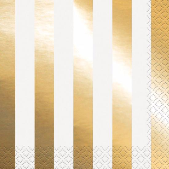 Gold Foil Stripe Luncheon Napkins