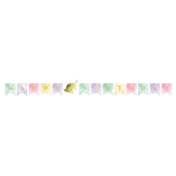 Unicorn Sparkle Foil Stamp Ribbon shaped banner