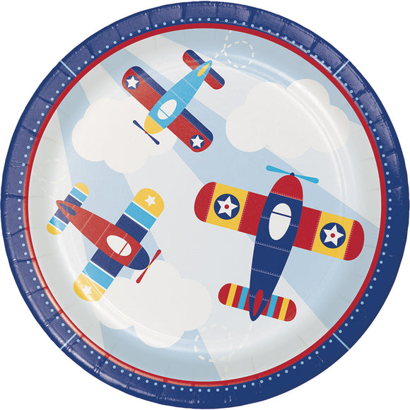 "Little Flyer Airplane 9"" Plates"
