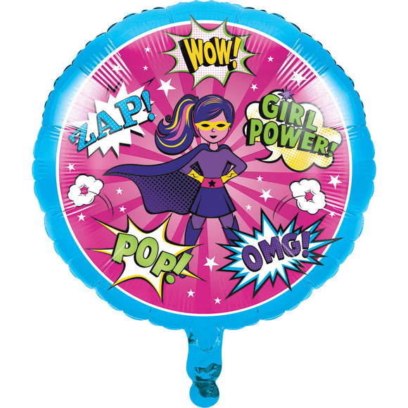 Superhero Girl Metallic Foil Balloon