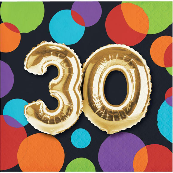"Balloon Birthday Bev napkins ""30"""