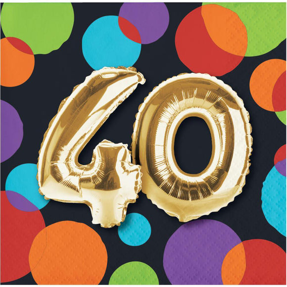 "Balloon Birthday Bev napkins ""40"""