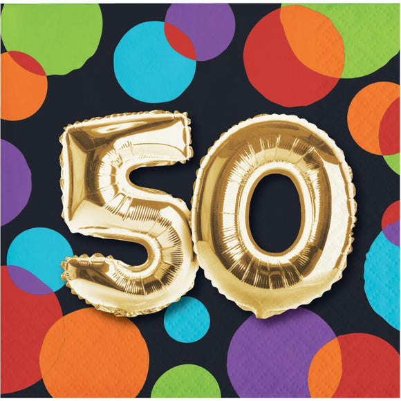 "Balloon Birthday Bev napkins ""50"""