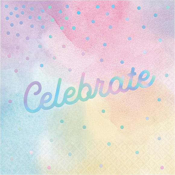 Celebrate Iridescent Luncheon Napkins 16/pk