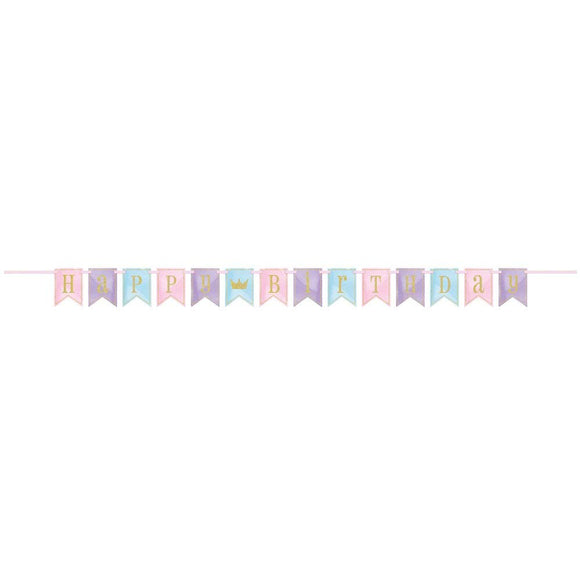 glitter Magic Princess Birthday Pennant Banner