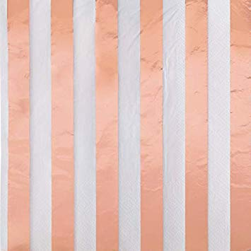 Rose gold Stripes Paper Luncheon Napkins