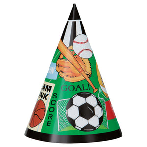 Classic Sports Party Hats 8/pk