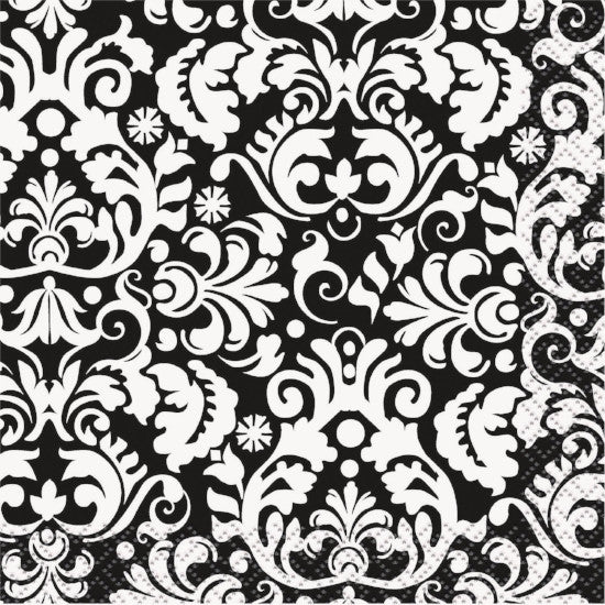 Black Damask Bev Napkins