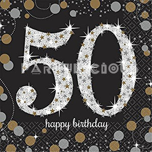 Sparkling Celebration 50th B'day Beverage Napkin