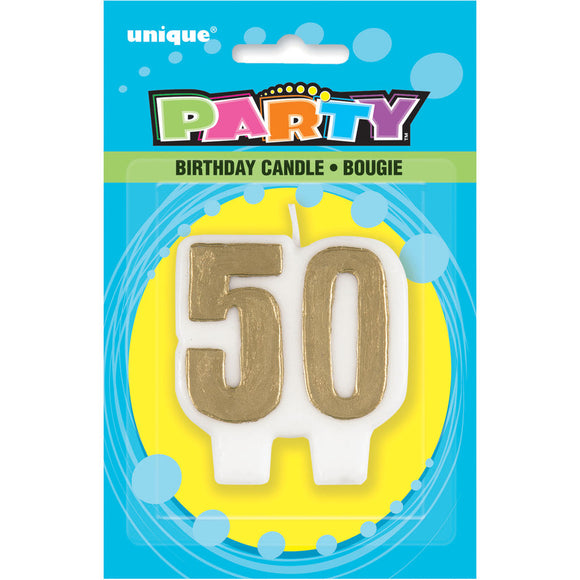 50Th Birthday/Anniversary Candle - Pack Of 1