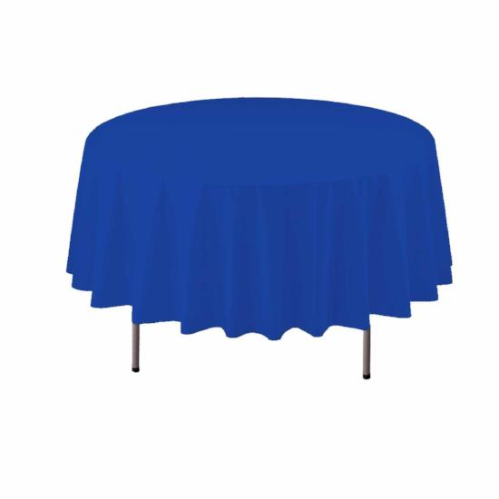 Dark Blue Round Plastic Tablecover